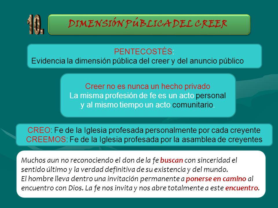 DIMENSIÓN PÚBLICA DEL CREER PENTECOSTÉS: Evidencia la dimensión pública del creer y del anuncio público Creer no es nunca un hecho privado La misma pr