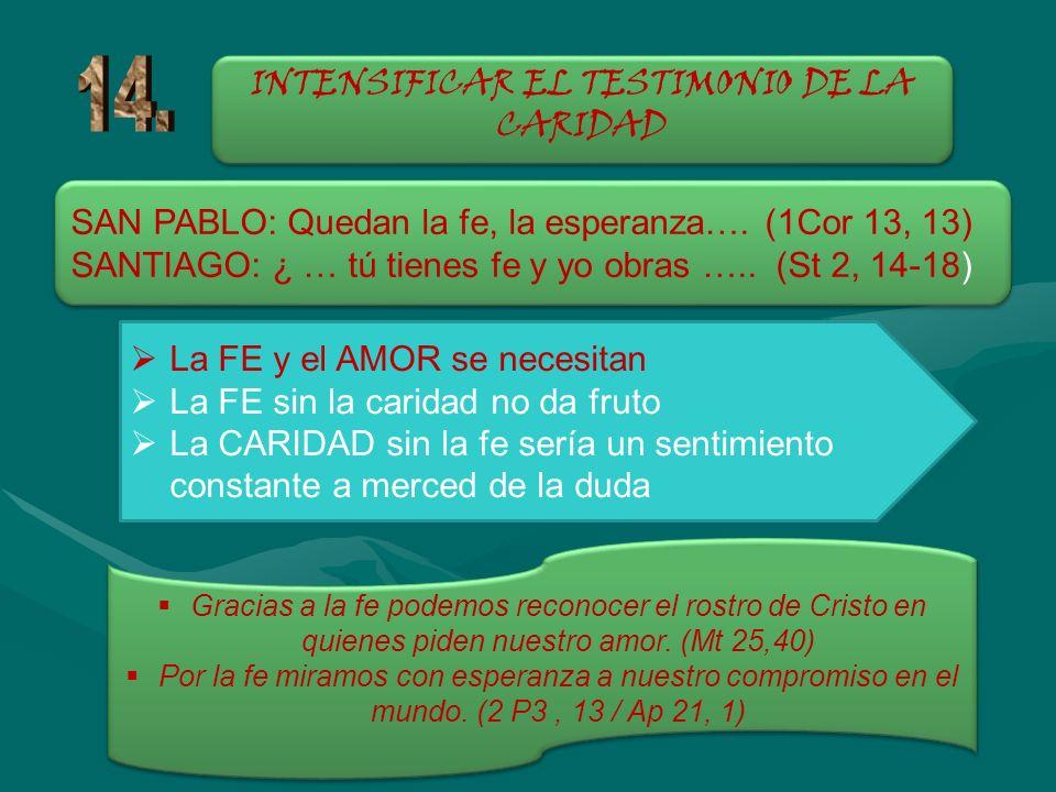 INTENSIFICAR EL TESTIMONIO DE LA CARIDAD SAN PABLO: Quedan la fe, la esperanza…. (1Cor 13, 13) SANTIAGO: ¿ … tú tienes fe y yo obras ….. (St 2, 14-18)