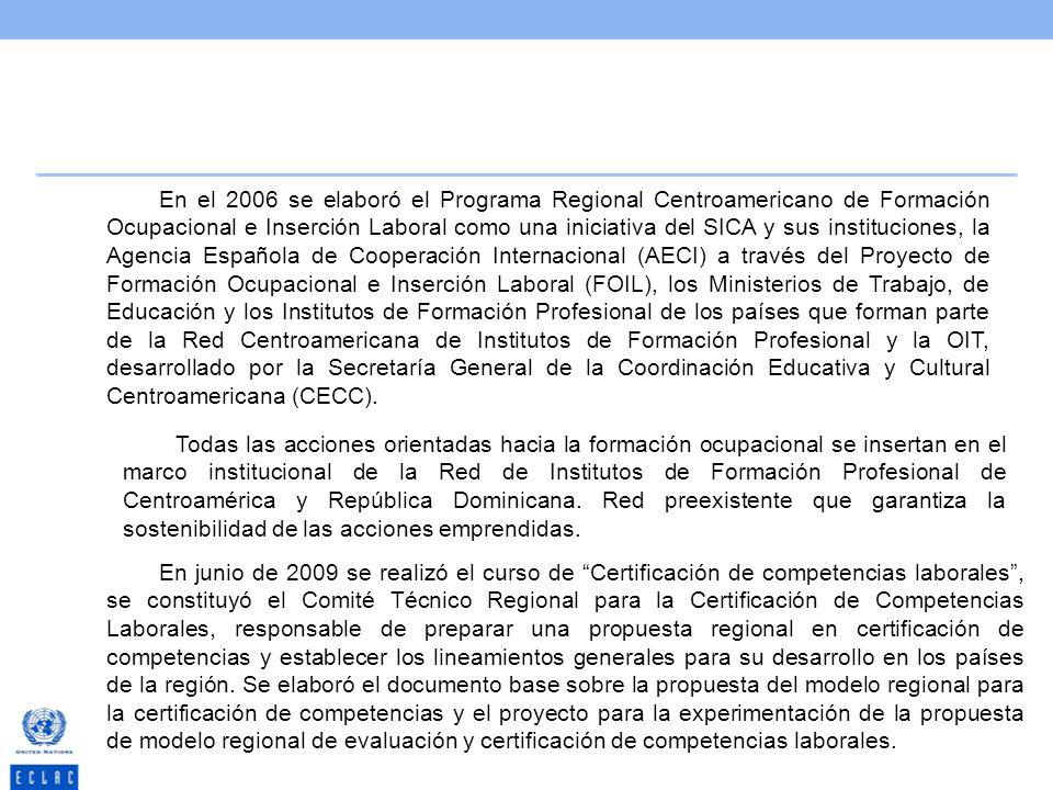 En el 2006 se elaboró el Programa Regional Centroamericano de Formación Ocupacional e Inserción Laboral como una iniciativa del SICA y sus institucion