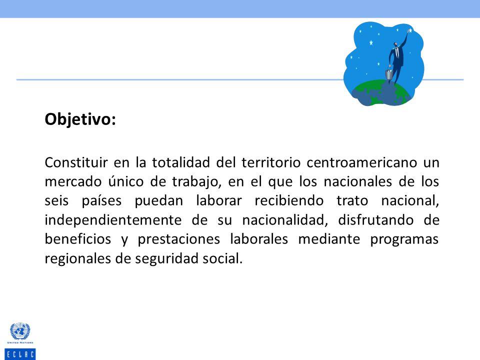Objetivo: Constituir en la totalidad del territorio centroamericano un mercado único de trabajo, en el que los nacionales de los seis países puedan la