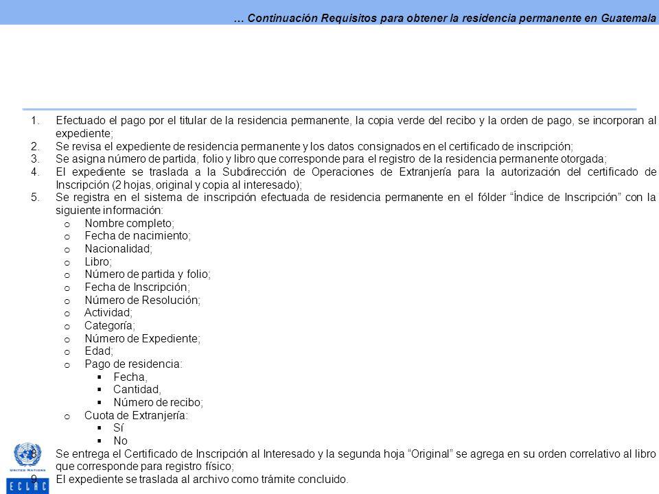 … Continuación Requisitos para obtener la residencia permanente en Guatemala 1.Efectuado el pago por el titular de la residencia permanente, la copia