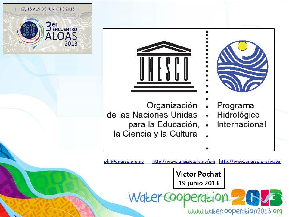 Globales : Globales : FRIEND - Regímenes de Flujo determinados a partir de Series de Datos Internacionales Experimentales y de Redes HELP - La Hidrología al servicio del Medio Ambiente, la Vida y las Políticas ISARM - UNESCO/OEA ISARM Américas - Acuíferos Transfronterizos de las Américas Eco-hidrología, ISI - Iniciativa Internacional sobre Sedimentación PCCP - Del conflicto potencial a un potencial de cooperación, IFI - Iniciativa Internacional sobre Inundaciones GRAPHIC - Evaluación de los Recursos Hídricos Subterráneos bajo los efectos de la Actividad Humana y del Cambio Climático UWMP- Programa de Gestión de Aguas Urbanas Regionales : Regionales : Agua y Educación, Agua y Cultura Balance Hídrico Grupos de Trabajo : Grupos de Trabajo : Hielos y Nieves, Agua y Género, Técnicas para aumentar la oferta hídrica Programas y Grupos de Trabajo