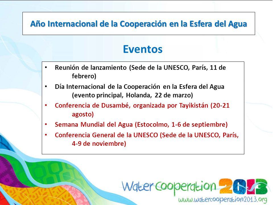 Eventos Año Internacional de la Cooperación en la Esfera del Agua Reunión de lanzamiento (Sede de la UNESCO, París, 11 de febrero) Día Internacional de la Cooperación en la Esfera del Agua (evento principal, Holanda, 22 de marzo) Conferencia de Dusambé, organizada por Tayikistán (20-21 agosto) Semana Mundial del Agua (Estocolmo, 1-6 de septiembre) Conferencia General de la UNESCO (Sede de la UNESCO, París, 4-9 de noviembre)