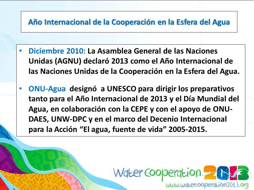 Objetivos: – Fomentar la cooperación hídrica a través de cuatro objetivos estratégicos: 1.Crear conciencia sobre la importancia de la cooperación hídrica 2.Mejorar el conocimiento y fortalecer la capacidad para la cooperación hídrica 3.Provocar acciones concretas e innovadoras para la cooperación hídrica 4.Fomentar la cooperación y el diálogo alrededor de la cooperación hídrica Año Internacional de la Cooperación en la Esfera del Agua