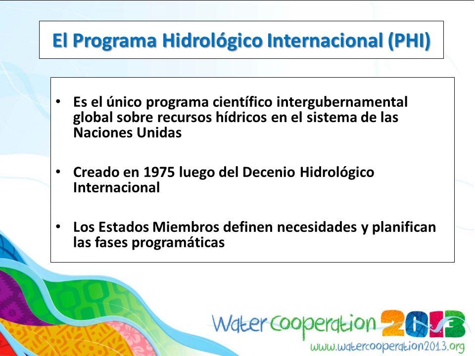 Es el único programa científico intergubernamental global sobre recursos hídricos en el sistema de las Naciones Unidas Creado en 1975 luego del Decenio Hidrológico Internacional Los Estados Miembros definen necesidades y planifican las fases programáticas El Programa Hidrológico Internacional (PHI)
