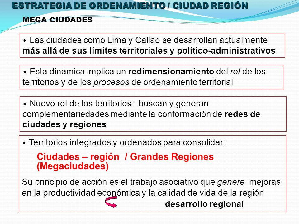 MEGA CIUDADES Las ciudades como Lima y Callao se desarrollan actualmente más allá de sus límites territoriales y político-administrativos Esta dinámica implica un redimensionamiento del rol de los territorios y de los procesos de ordenamiento territorial Nuevo rol de los territorios: buscan y generan complementariedades mediante la conformación de redes de ciudades y regiones Territorios integrados y ordenados para consolidar: Ciudades – región / Grandes Regiones (Megaciudades) Su principio de acción es el trabajo asociativo que genere mejoras en la productividad económica y la calidad de vida de la región desarrollo regional ESTRATEGIA DE ORDENAMIENTO / CIUDAD REGIÓN