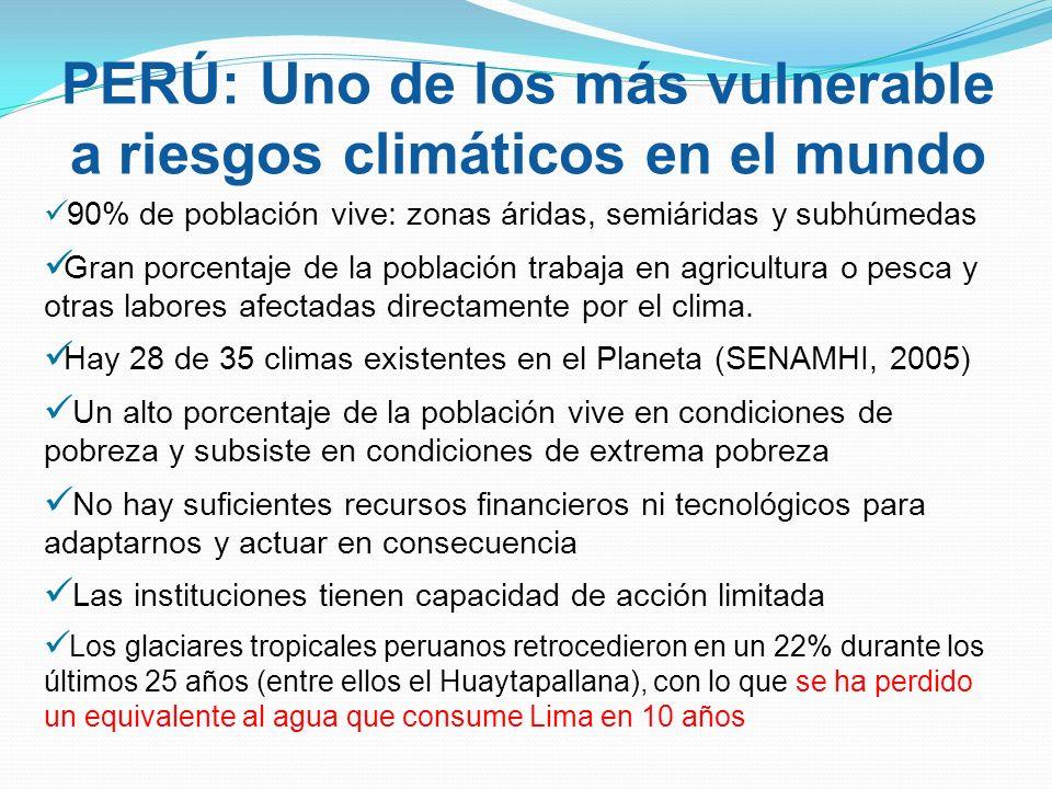 PERÚ: Uno de los más vulnerable a riesgos climáticos en el mundo 90% de población vive: zonas áridas, semiáridas y subhúmedas Gran porcentaje de la población trabaja en agricultura o pesca y otras labores afectadas directamente por el clima.