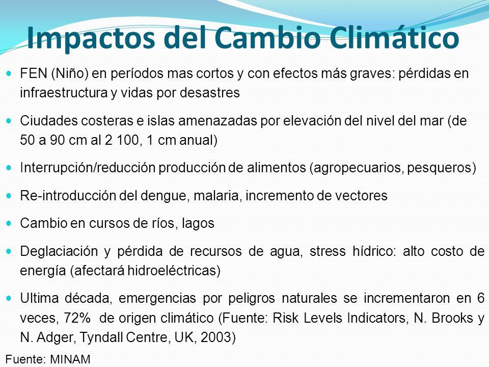IMPACTO DEL CAMBIO CLIMÁTICO EN EL AGUA DE LAS CIUDADES Relocalización de 2 millones de personas: desplazados climáticos (olas de frío, elevación de nivel del mar, pérdida de fuentes de subsistencia).