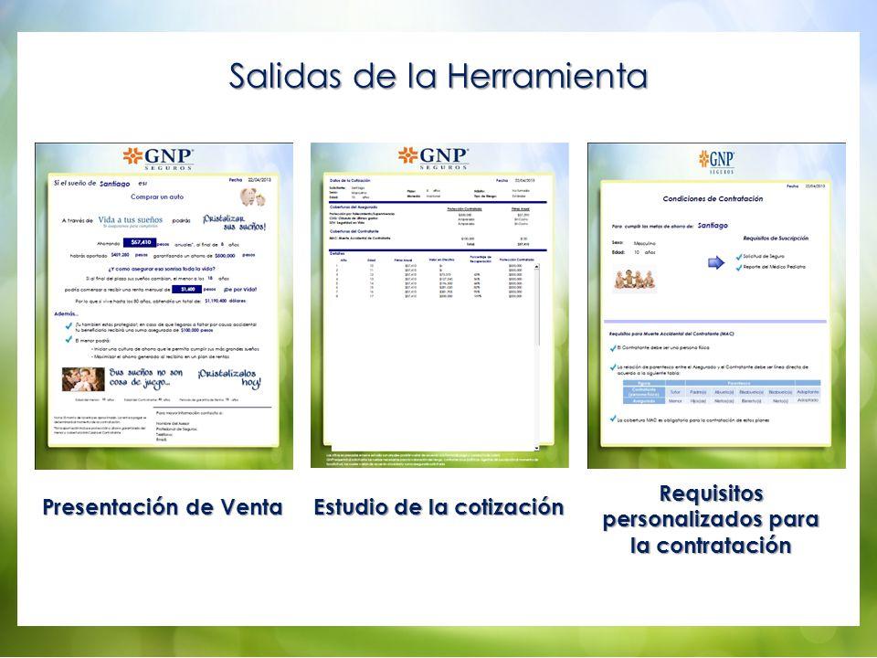 Salidas de la Herramienta Presentación de Venta Estudio de la cotización Requisitos personalizados para la contratación