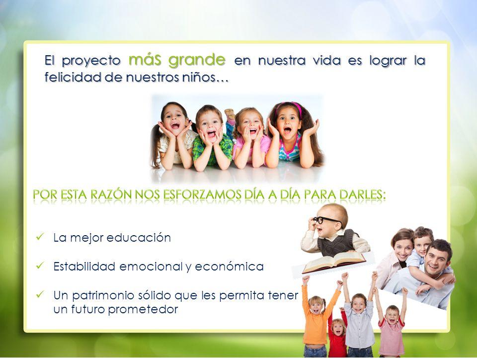El proyecto má s grande en nuestra vida es lograr la felicidad de nuestros niños… La mejor educación Estabilidad emocional y económica Un patrimonio sólido que les permita tener un futuro prometedor