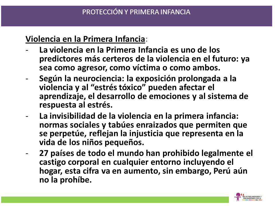 PROTECCIÓN Y PRIMERA INFANCIA Violencia en la Primera Infancia: -La violencia en la Primera Infancia es uno de los predictores más certeros de la viol