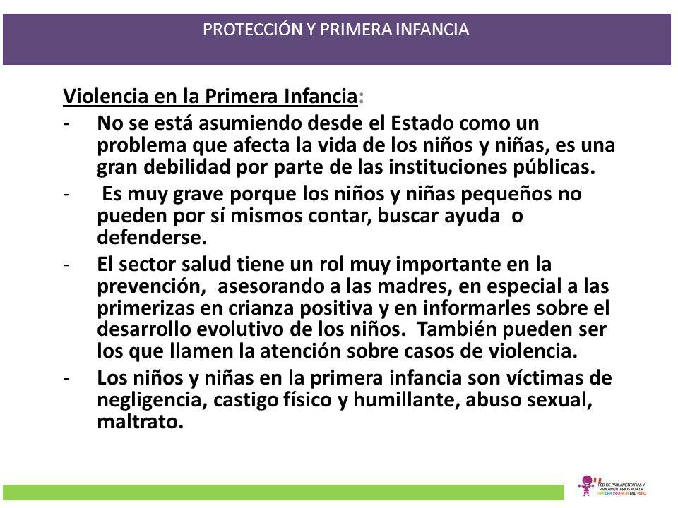 PROTECCIÓN Y PRIMERA INFANCIA Violencia en la Primera Infancia: -No se está asumiendo desde el Estado como un problema que afecta la vida de los niños