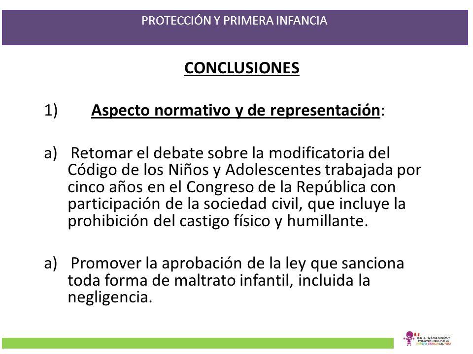 PROTECCIÓN Y PRIMERA INFANCIA CONCLUSIONES 1)Aspecto normativo y de representación: a)Retomar el debate sobre la modificatoria del Código de los Niños