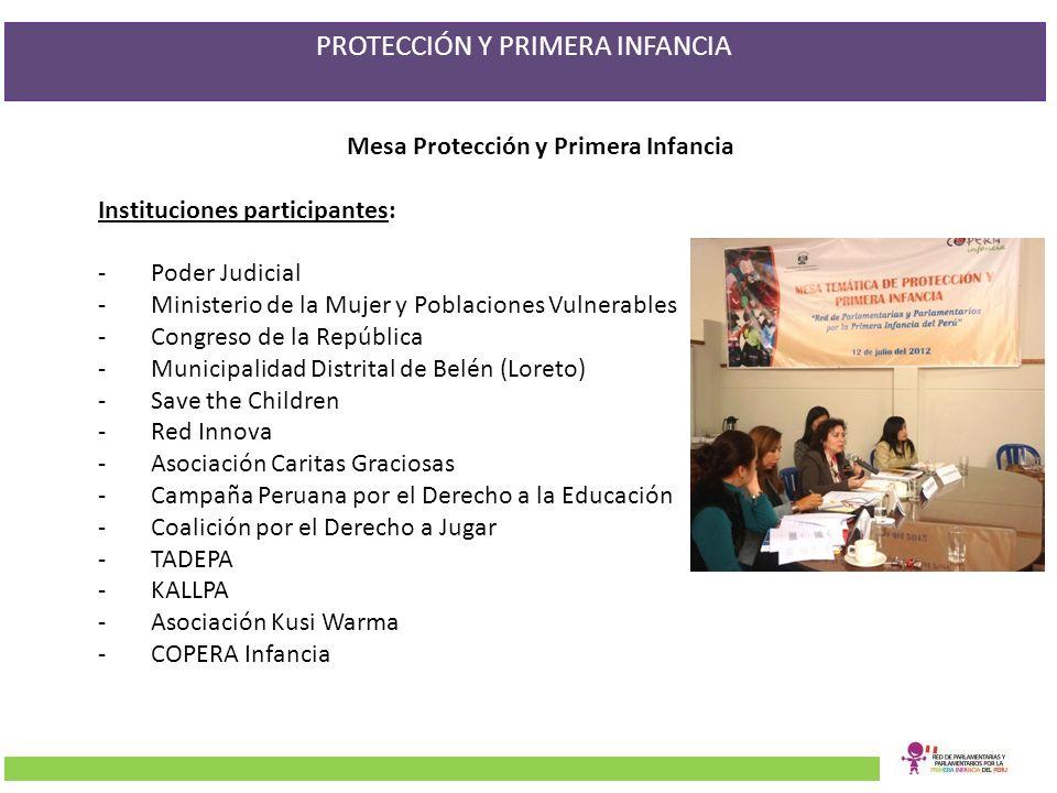 Mesa Protección y Primera Infancia Instituciones participantes: -Poder Judicial -Ministerio de la Mujer y Poblaciones Vulnerables -Congreso de la Repú