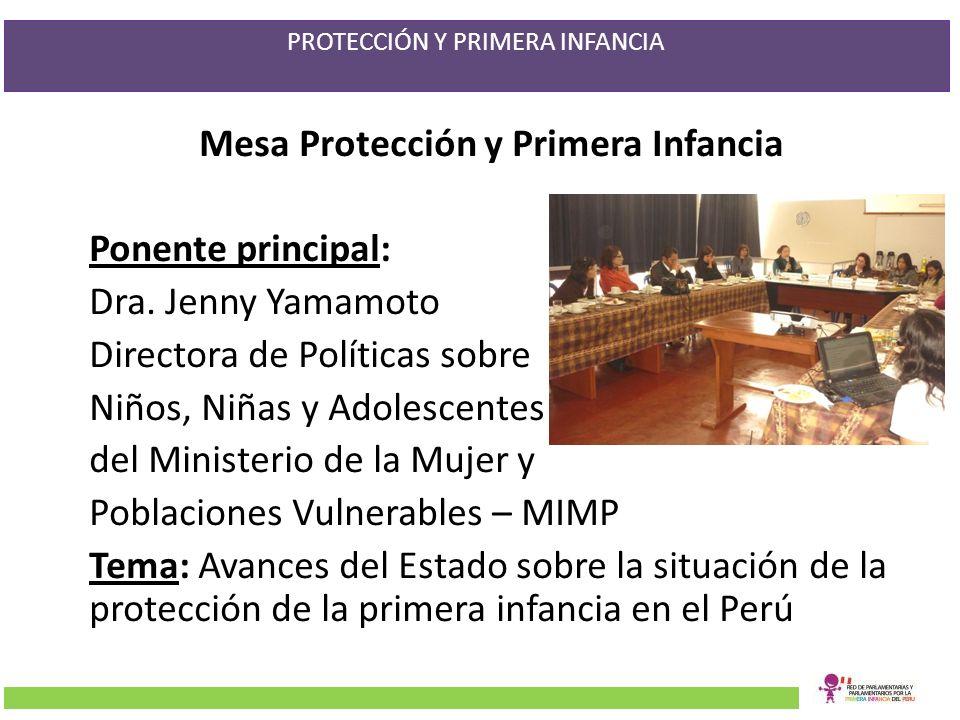PROTECCIÓN Y PRIMERA INFANCIA Mesa Protección y Primera Infancia Ponente principal: Dra. Jenny Yamamoto Directora de Políticas sobre Niños, Niñas y Ad