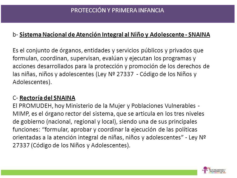 b- Sistema Nacional de Atención Integral al Niño y Adolescente - SNAINA Es el conjunto de órganos, entidades y servicios públicos y privados que formu