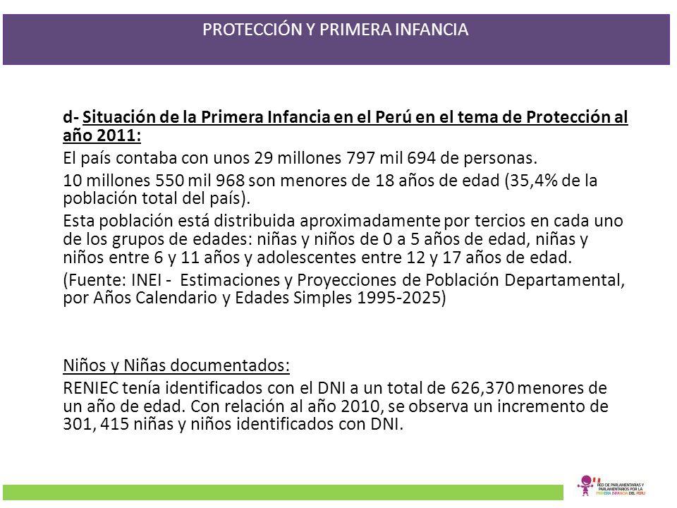 PROTECCIÓN Y PRIMERA INFANCIA d- Situación de la Primera Infancia en el Perú en el tema de Protección al año 2011: El país contaba con unos 29 millone
