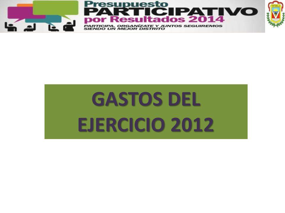 GASTOS DEL EJERCICIO 2012