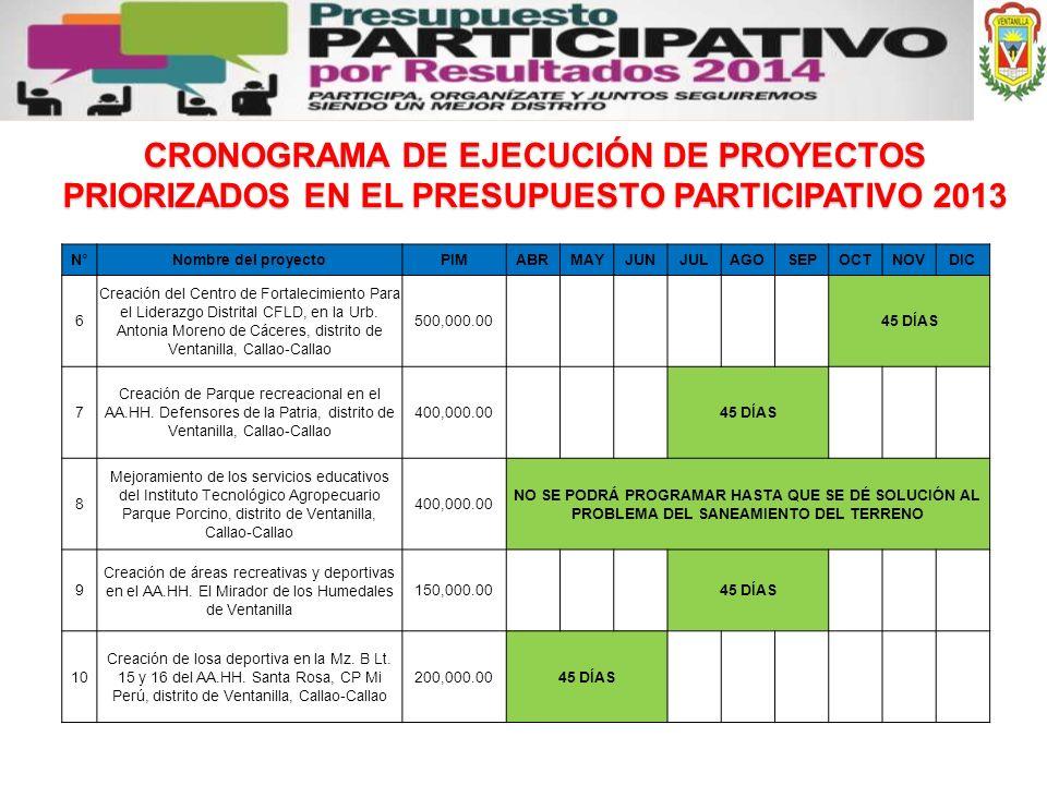 CRONOGRAMA DE EJECUCIÓN DE PROYECTOS PRIORIZADOS EN EL PRESUPUESTO PARTICIPATIVO 2013 N°Nombre del proyectoPIMABRMAYJUNJULAGOSEPOCTNOVDIC 6 Creación d