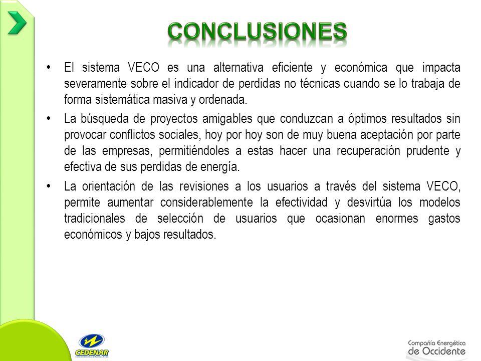 El sistema VECO es una alternativa eficiente y económica que impacta severamente sobre el indicador de perdidas no técnicas cuando se lo trabaja de forma sistemática masiva y ordenada.