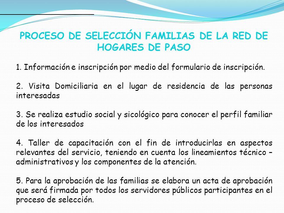 PROCESO DE SELECCIÓN FAMILIAS DE LA RED DE HOGARES DE PASO 1. Información e inscripción por medio del formulario de inscripción. 2. Visita Domiciliari