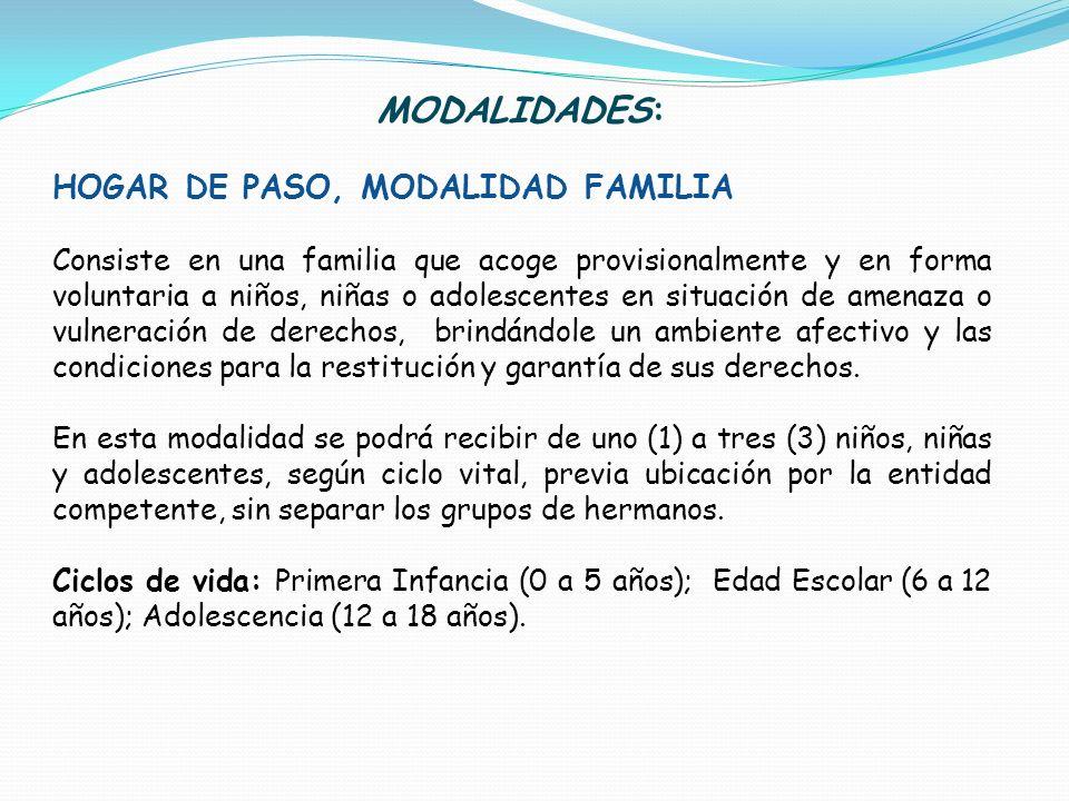 MODALIDADES: HOGAR DE PASO, MODALIDAD FAMILIA Consiste en una familia que acoge provisionalmente y en forma voluntaria a niños, niñas o adolescentes e