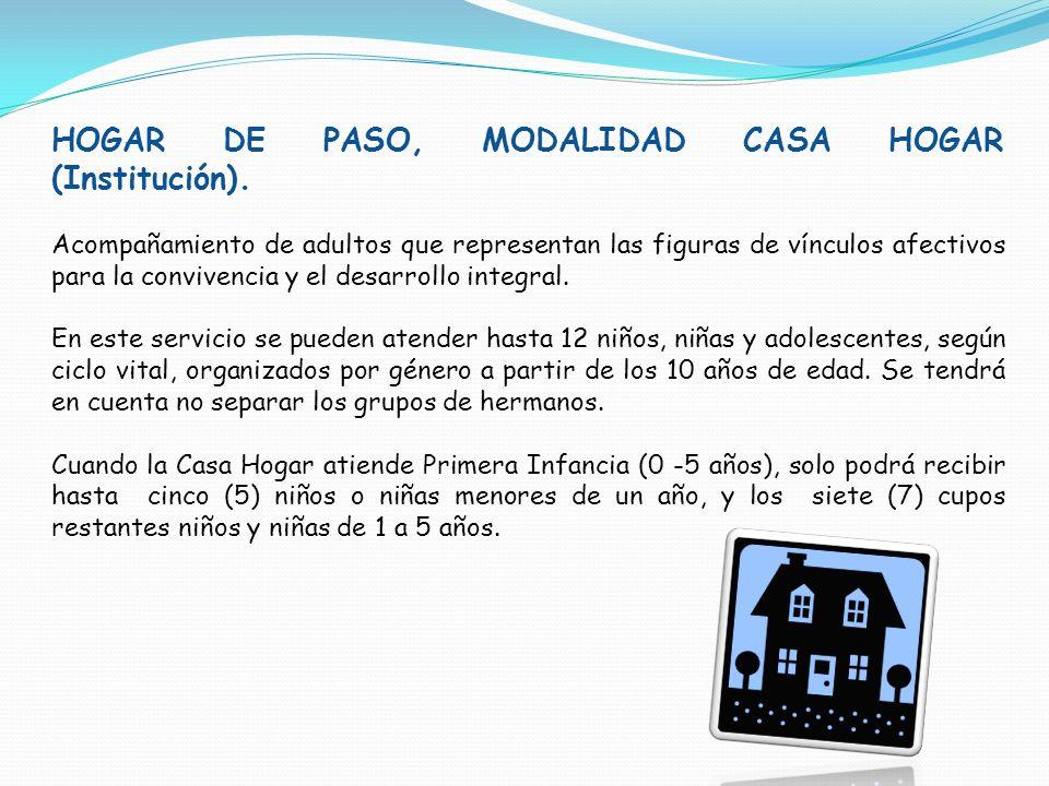 HOGAR DE PASO, MODALIDAD CASA HOGAR (Institución). Acompañamiento de adultos que representan las figuras de vínculos afectivos para la convivencia y e