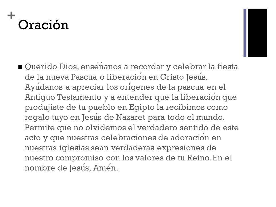 + Oración Querido Dios, ensen ̃ anos a recordar y celebrar la fiesta de la nueva Pascua o liberacion en Cristo Jesus.