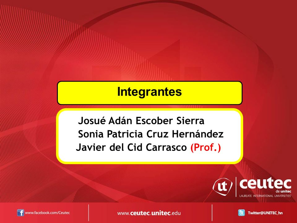 Josué Adán Escober Sierra Sonia Patricia Cruz Hernández Javier del Cid Carrasco (Prof.) Integrantes