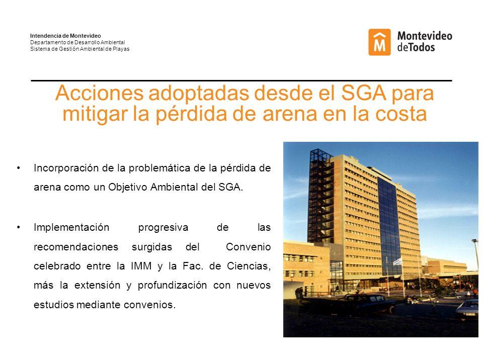 Incorporación de la problemática de la pérdida de arena como un Objetivo Ambiental del SGA.