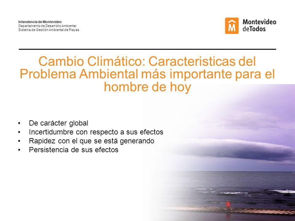 Resultado de las acciones emprendidas para mitigar la pérdida de arena en las playas: CARRASCO AÑO 2003 - PLANTACIÓN 3 AÑOS AÑO 2002 - PLANTACIÓN 2 AÑOS AÑO 2002 – 1 AÑO DE BARRERA AÑO 2003 – 2 AÑO DE BARRERA AÑO 2002 – 2 AÑO DE BARRERA AÑO 2008 - PLANTACIÓN 8 AÑOS Intendencia de Montevideo Departamento de Desarrollo Ambiental Sistema de Gestión Ambiental de Playas