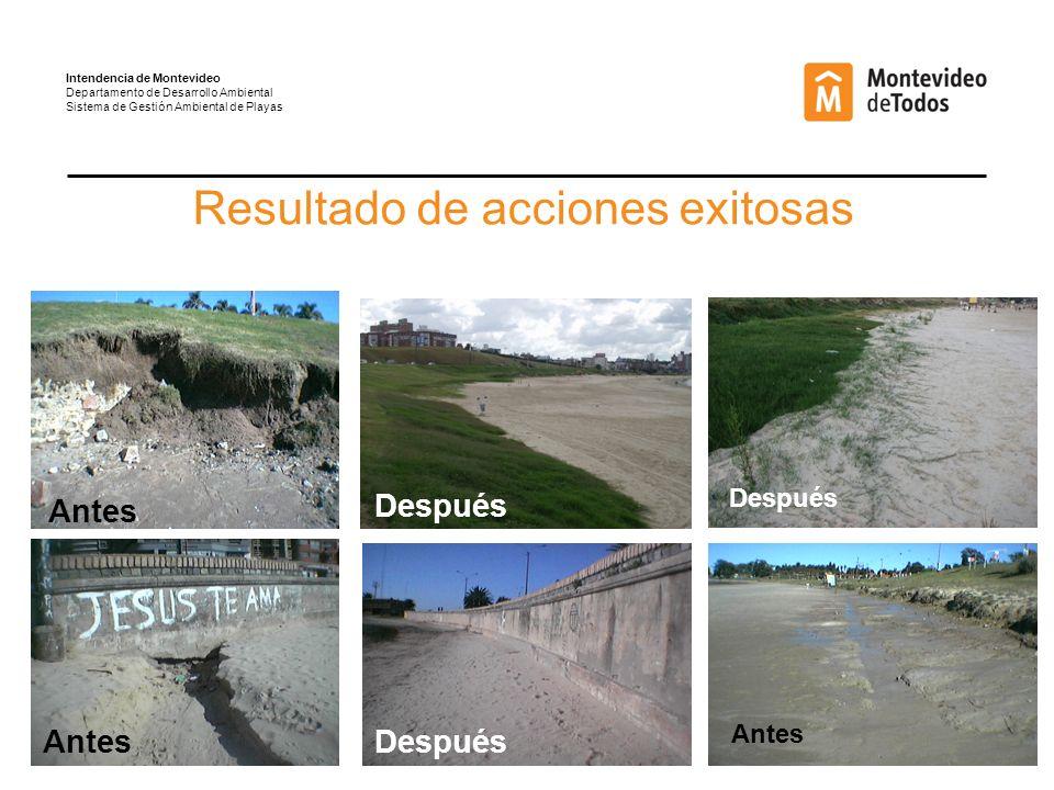 Resultado de acciones exitosas Antes Después Antes Después Intendencia de Montevideo Departamento de Desarrollo Ambiental Sistema de Gestión Ambiental de Playas Antes Después