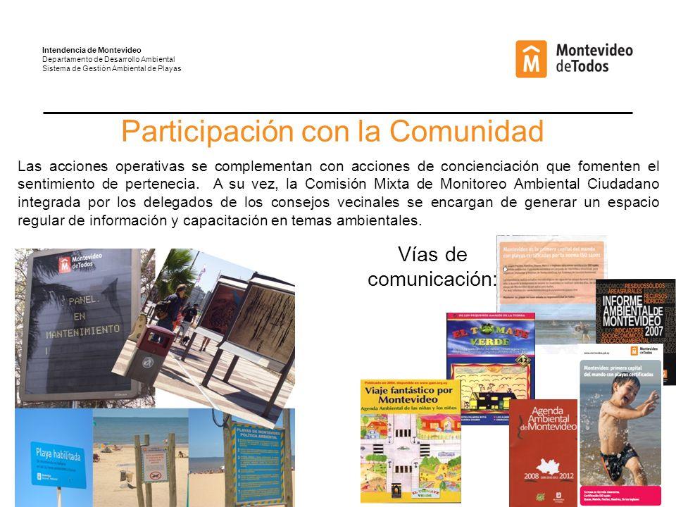 Participación con la Comunidad Las acciones operativas se complementan con acciones de concienciación que fomenten el sentimiento de pertenecia.