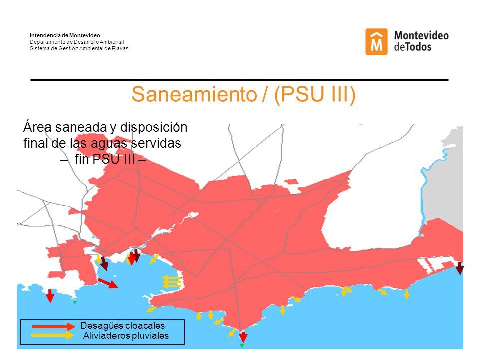Intendencia de Montevideo Departamento de Desarrollo Ambiental Sistema de Gestión Ambiental de Playas Saneamiento / (PSU III) Área saneada y disposición final de las aguas servidas – fin PSU III – Aliviaderos pluviales Desagües cloacales
