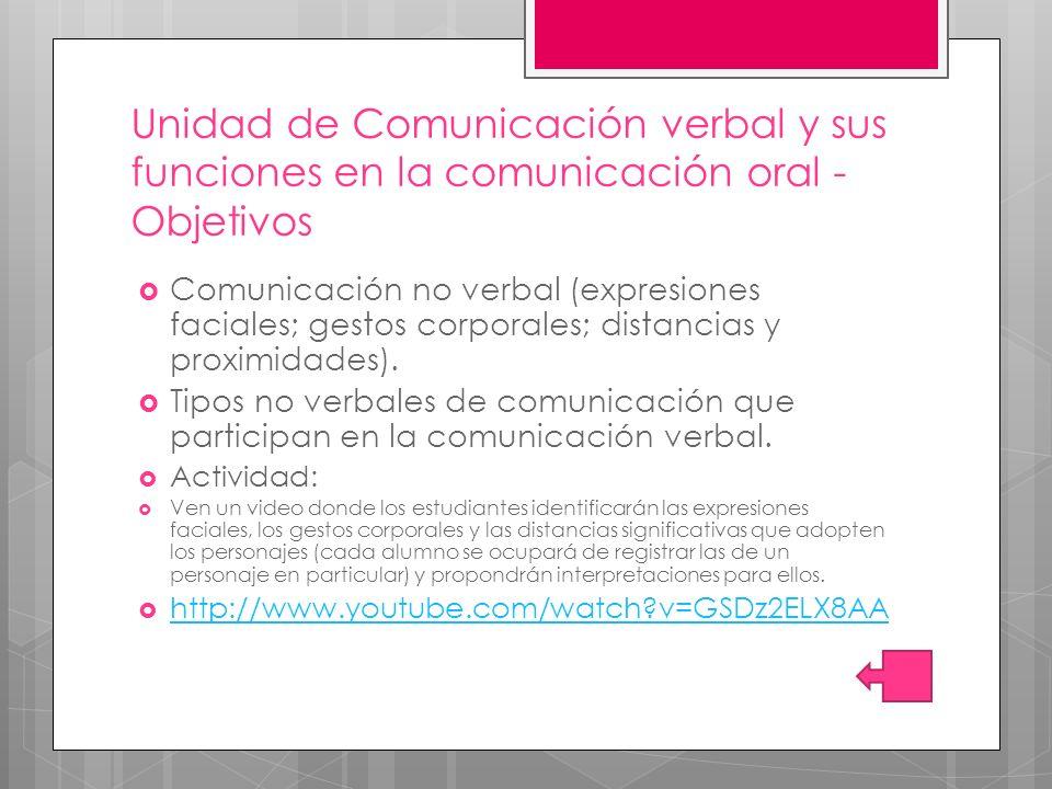 Comunicación no verbal (expresiones faciales; gestos corporales; distancias y proximidades).