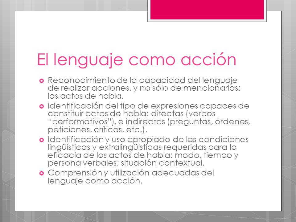 El lenguaje como acción Reconocimiento de la capacidad del lenguaje de realizar acciones, y no sólo de mencionarlas: los actos de habla. Identificació
