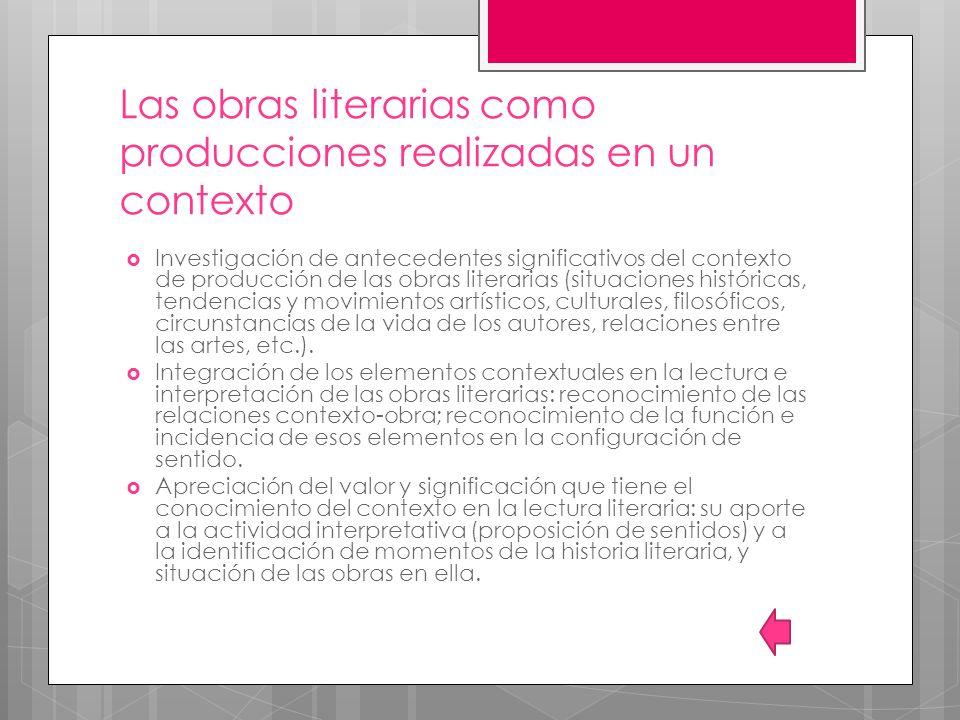 Las obras literarias como producciones realizadas en un contexto Investigación de antecedentes significativos del contexto de producción de las obras