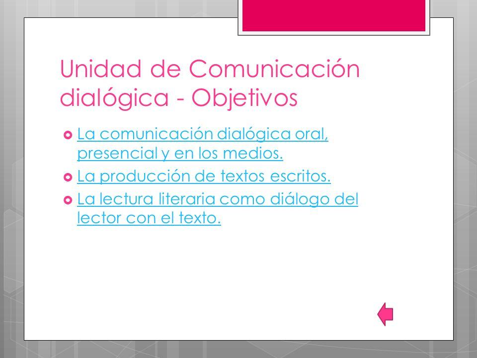 Unidad de Comunicación dialógica - Objetivos La comunicación dialógica oral, presencial y en los medios. La comunicación dialógica oral, presencial y