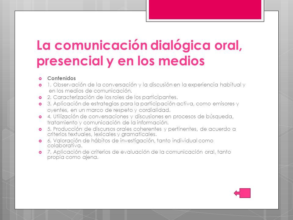 La comunicación dialógica oral, presencial y en los medios Contenidos 1. Observación de la conversación y la discusión en la experiencia habitual y en
