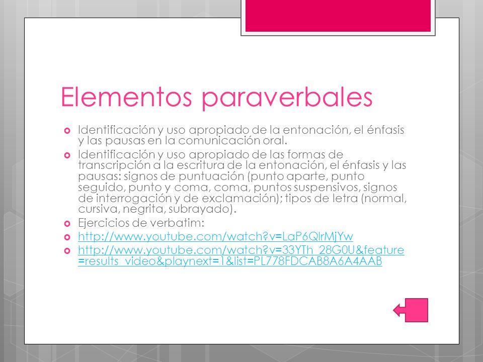 Elementos paraverbales Identificación y uso apropiado de la entonación, el énfasis y las pausas en la comunicación oral. Identificación y uso apropiad
