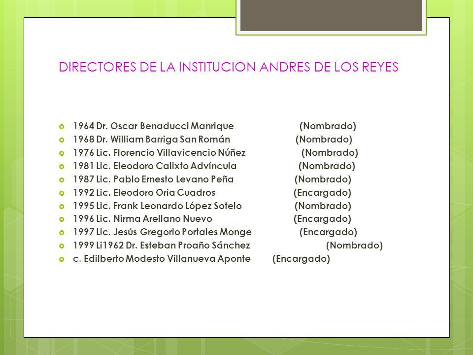 DIRECTORES DE LA INSTITUCION ANDRES DE LOS REYES 1964 Dr. Oscar Benaducci Manrique (Nombrado) 1968 Dr. William Barriga San Román (Nombrado) 1976 Lic.