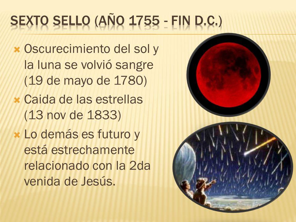 Oscurecimiento del sol y la luna se volvió sangre (19 de mayo de 1780) Caida de las estrellas (13 nov de 1833) Lo demás es futuro y está estrechamente relacionado con la 2da venida de Jesús.
