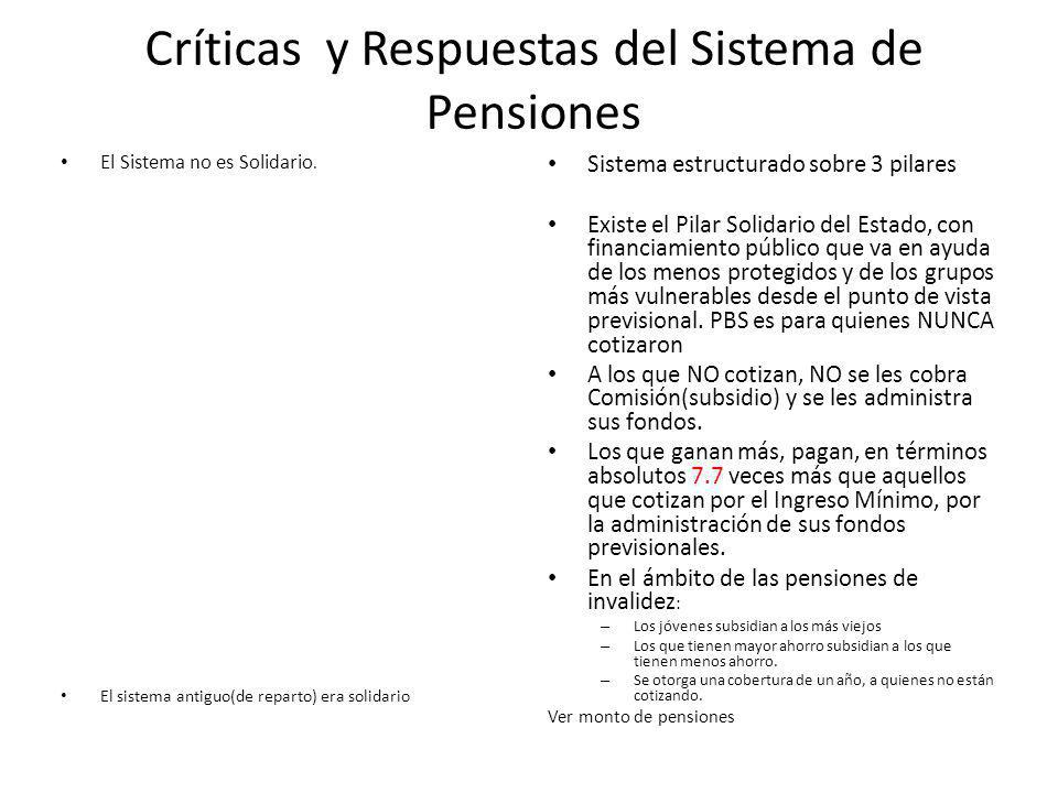 Críticas y Respuestas del Sistema de Pensiones El Sistema no es Solidario.