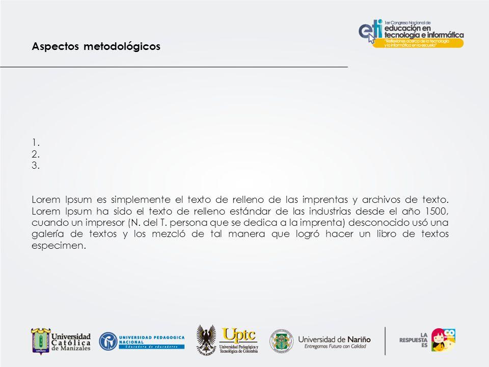Aspectos metodológicos 1.2. 3.