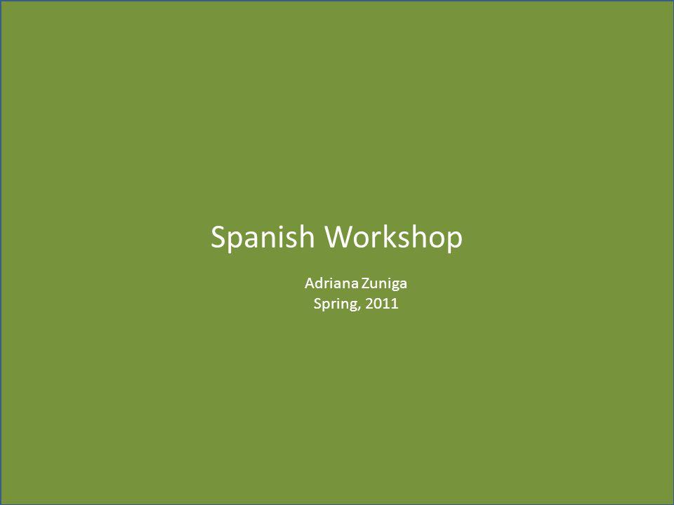 Spanish Workshop Adriana Zuniga Spring, 2011 Taller de Español 1.