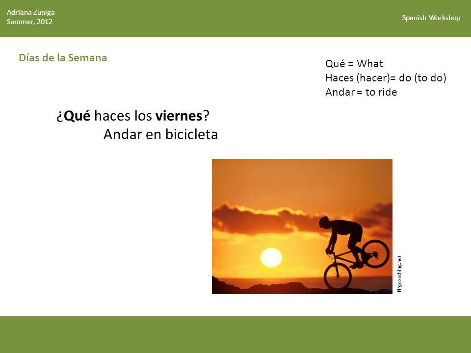 Spanish Workshop Días de la Semana Nrgcoaching.net ¿Qué haces los viernes.