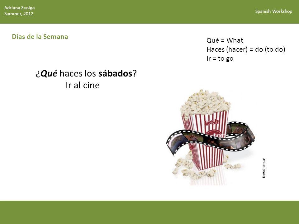 Spanish Workshop Días de la Semana ¿Qué haces los sábados.