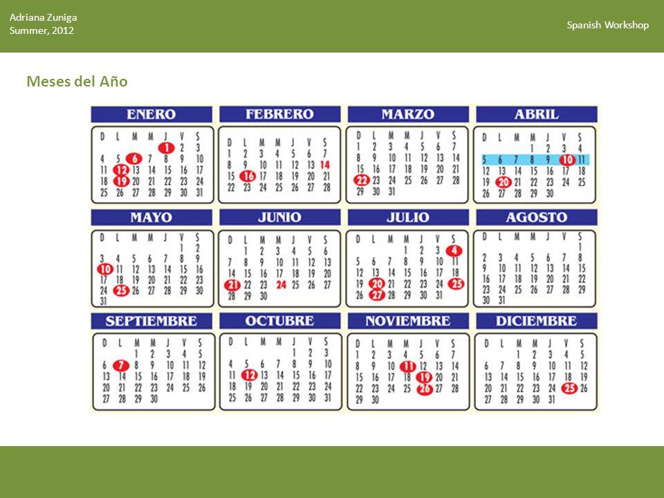 Spanish Workshop Los Colores El amarillo Rojo Anaranjado Amarillo Verde Azul Indigo Violeta Rosa Café Negro Blanco Quilmes-digital.blogspot.com Los pollitos son amarillos (polluelos) Adriana Zuniga Summer, 2012