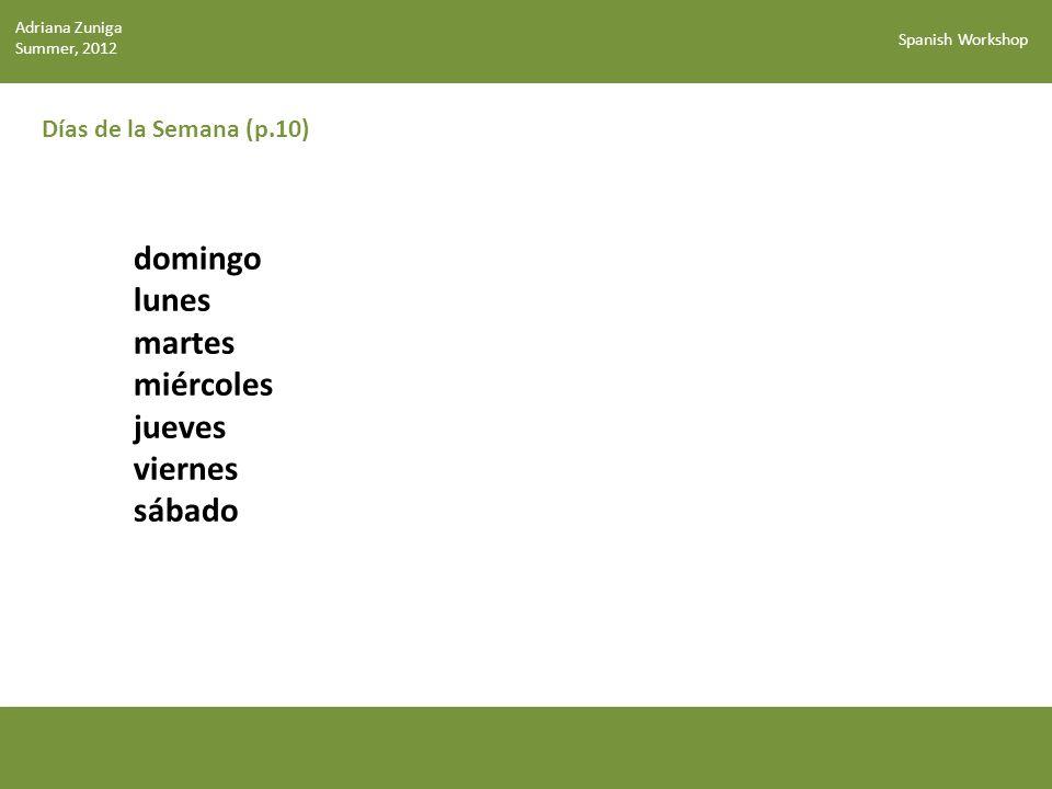 Spanish Workshop Días de la Semana Clipartguide.com ¿Qué haces los domingos.