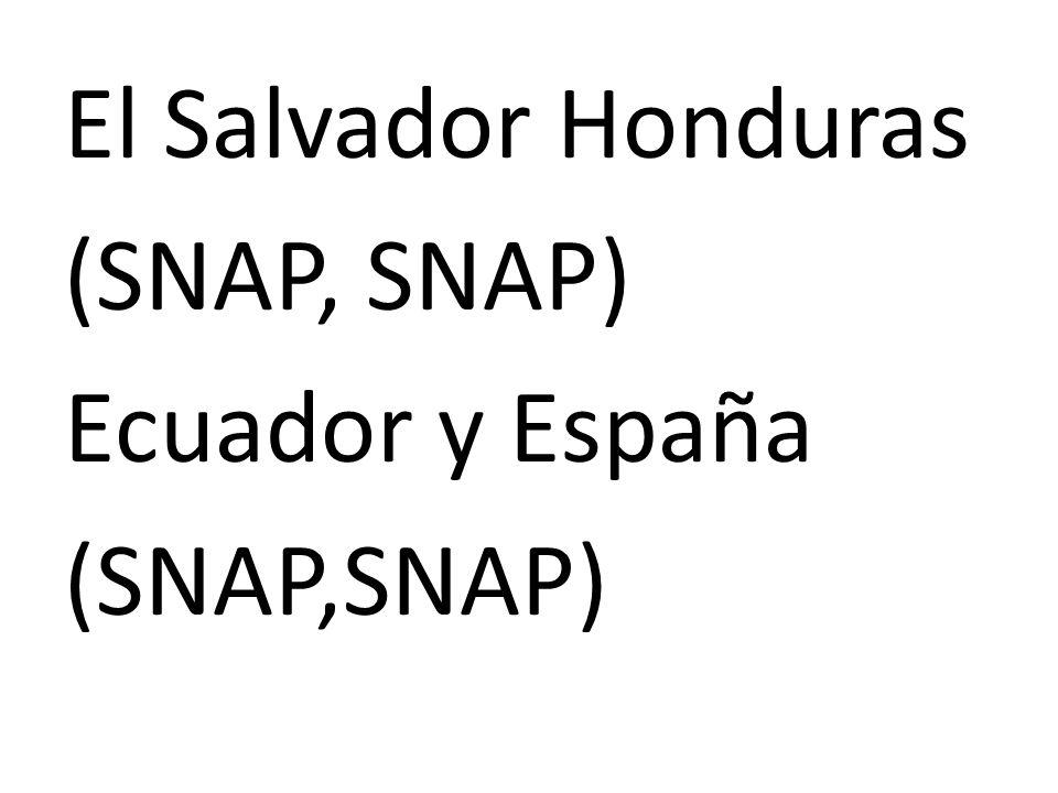 El Salvador Honduras (SNAP, SNAP) Ecuador y España (SNAP,SNAP)